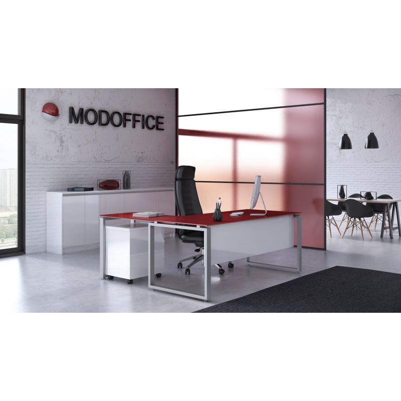 """Γραφείο Εργασίας """"Prisma με κόκκινο γυαλί και ακρυλικό λευκό"""""""